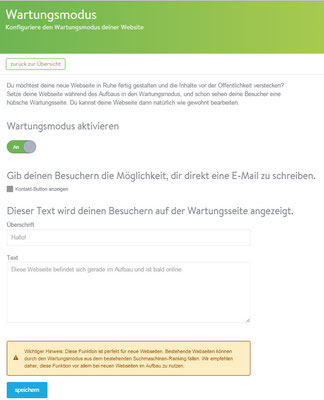 Jimdo Website Wartungsmodus aktiv