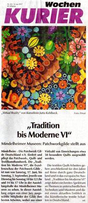 Anzeige im Wochenkurier Mindelheim mit Ausschnitt des Quilts: Virtual Reality von Jutta Kohlbeck