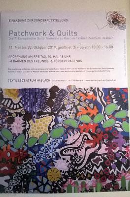 Plakat zur Ausstellung Patchwork und Quilts der Quilttriennale 2019 / Ausstellungsort Textile Kultur Haslach Österreich