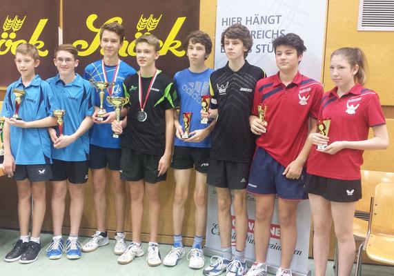 Siegerehrung Doppel U15. Drittplatzierte: Zeman/Zeman + Koszik/Erak
