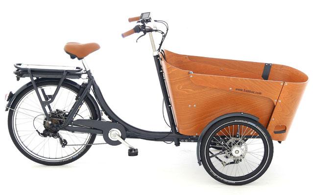 Das Lastenfahrrad mit Elektromotor Carve-E von Babboe kommt in einem einzigartigen Design