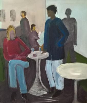 Im Café - Acryl auf Leinwand - 70 x 60