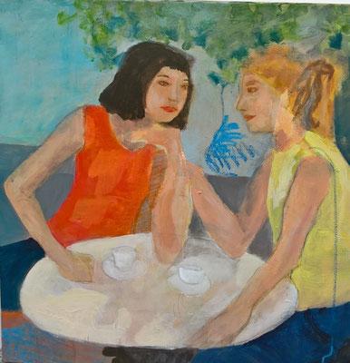 Sommer im Café - Acryl auf Leinwand - 50 X 50