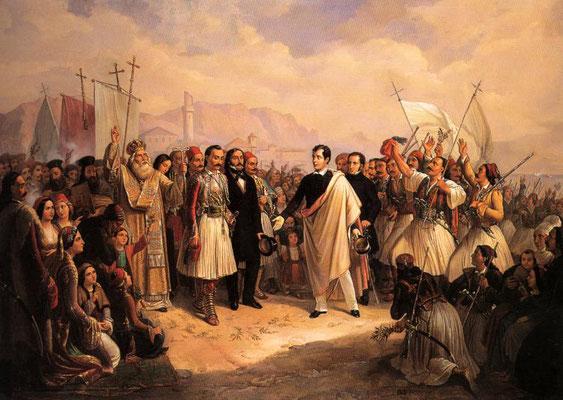 Η υποδοχή του Λόρδου Βύρωνα στο Μεσολόγγι, 1861