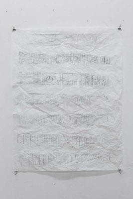 JÜRGEN DRESCHER - Frottage einer Palette auf Seidenpapier, 2016 © Foto: Gerald Imhof