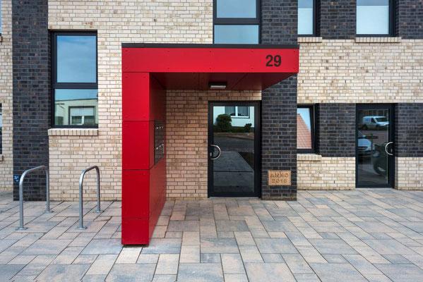 Eingangsbereich der 14 barrierefreien Wohnungen