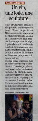 Article la dépêche 1er Vin'issage