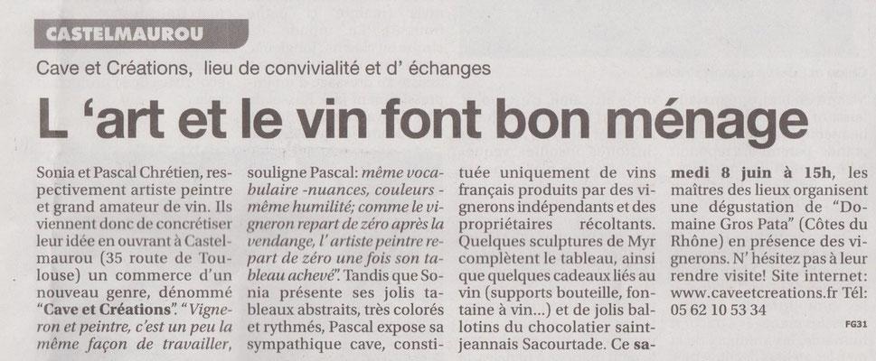 Article le Petit Journal 1er dégustation avec Sabine Caragnon