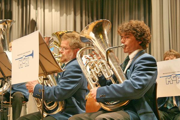 Lui Huber (links), Christoph Huber; Jahreskonzert 29. März 2008 Mehrzweckhalle Kölliken