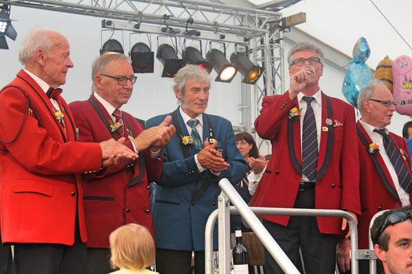 Drei CISM-Veteranen: Arnold Hauri (MG Seengen), Ulrich Schärer (MG Möriken-Wildegg), Sepp Ottiger (MGK); Musiktag Hausen 22.05.2016