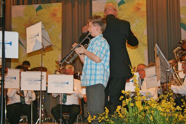 Jungmusikant Roman Lüscher; Jahreskonzert 26. März 2011 Mehrzweckhalle Kölliken