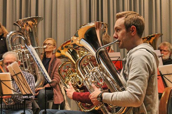 Probe vom 19. März 2018 Mehrzweckhalle; Matthias Zeltner (Euphonium)