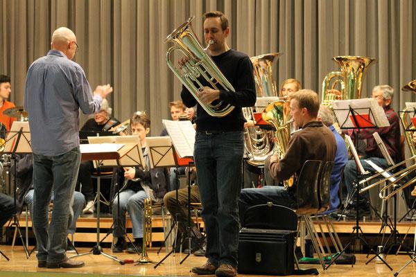 Matthias Zeltner (Euphonium); Generalprobe 29. März 2016 für Jubiläumskonzert vom 2. April 2016