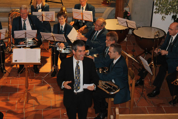 Moderation durch Pfarrer Ruedi Gebhard; Kirchenkonzert 4. November 2012 reformierte Kirche Kölliken