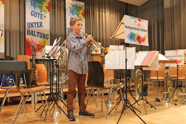 Jahreskonzert vom 23. März 2019 MZH Kölliken; Jungmusikant Lars Oeschger, Trompete: «Faded» (komponiert von Jesper Borgen)