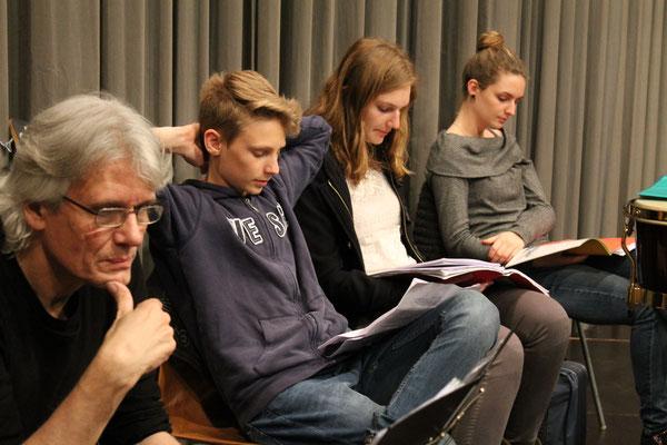 Marius Bröchin, Valentin Ammann, Linda Ammann, Ursina Ammann; Generalprobe 29. März 2016 für Jubiläumskonzert vom 2. April 2016