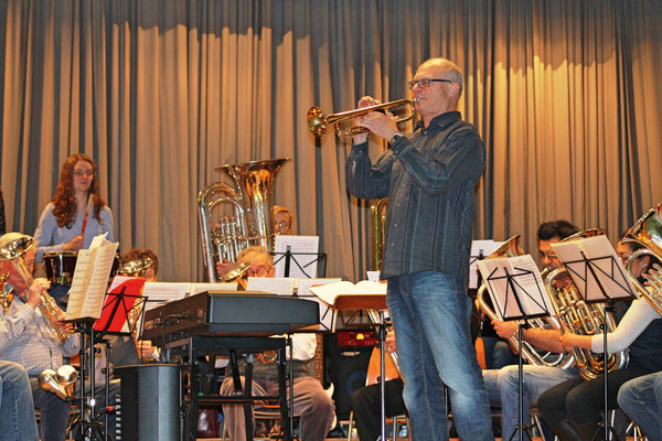 Hansjörg Ammann (Trompete); Generalprobe 25. März 2015 Mehrzweckhalle Kölliken für Jahreskonzert vom 29. März 2015