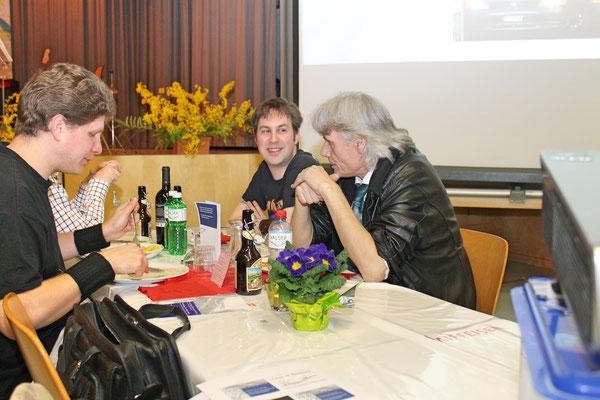 Lorenz Halder (links), Ciril Wälti und Marius Bröchin; Jahreskonzert 29. März 2014 Mehrzweckhalle Kölliken