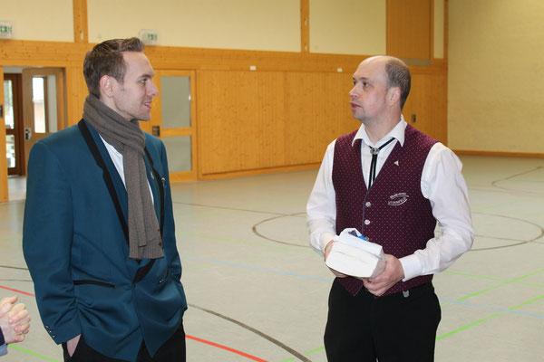 MGK-Präsident Matthias Zeltner und MVU-Vorsitzender Jürgen Wassmer, Musikverein Utzenfeld; Probesonntag MGK/MVU am 28. Februar 2016 in Utzenfeld (D)