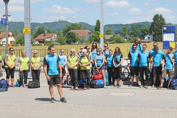 Empfang der Turner vom Eidg. Turnfest Bahnhof Kölliken 23. Juni 2019; TV-Präsident Stephan Lerch
