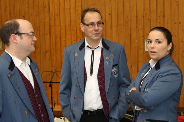 Frank Döring, Rolf Wetzel und Dagmar Ginzky, Musikverein Utzenfeld (D); Probesonntag MGK/MVU am 28. Februar 2016 in Utzenfeld (D)