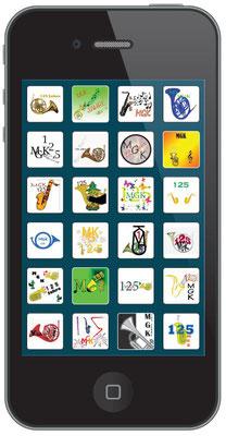 Die Vorschläge der Bezirksschulklassen 4a und 4b (unter der Leitung von Zeichenlehrer Toni Möri) für ein Jubiläumslogo («125 Jahre MGK») wurden von Flavia Zeltner als Kacheln in ein Smartphone eingefügt und von Daniele Fabbro im Weltformat ausgedruckt.