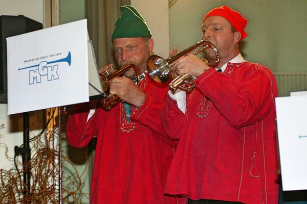 "Jahreskonzert 19. März 2005; Hansjörg Ammann 20 Jahre MGK-Dirigent; Ruedi Schmid (links) und Robert Messer ""De Schacher Seppli"""