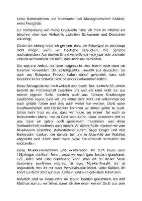 Festansprache (Seite 1) von Felicitas Kaiser, 1. Vorsitzende MVU; Jubiläumskonzert «125 Jahre MGK» 02.04.2016 MGK und MVU (D)