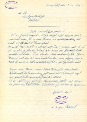 Probe vom 13.12.63: der Präsident verliest einen Brief aus Utzenfeld mit Weihnachts- und Neujahrsgrüssen.