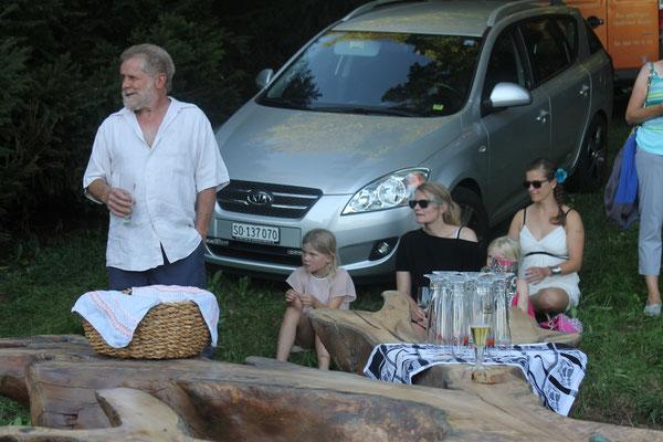 Jubilar Lui Huber mit Familienmitgliedern; 70. Geburtstag Lui Huber; Openair Konzert am 26. August 2016 in Walterswil