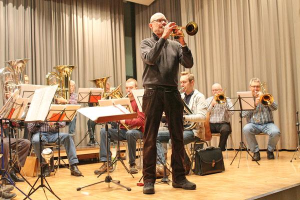 Probe vom 19. März 2018 Mehrzweckhalle; Trompetensolo von Hansjörg Ammann