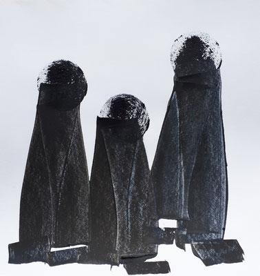 3 Nonnen, Acryl auf Papier 20x20cm cc christinastuckert