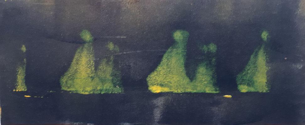 Erleuchtung II, Miniaturbild, gehört zu Bild I, Acryl auf Pappe