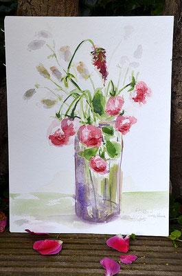"""""""Rosen und Klee"""", Aquarell 30x40"""