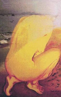 """""""Frau und Meer"""", Ölfarbe auf L. 100x81 cm"""