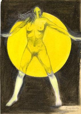 """""""Die Lichtbekleidete Frau"""", Ölfarbe auf Leinen, 100x81 cm"""
