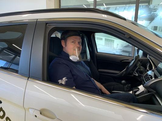 Sodermanns Corona Trennwand Maske Taxi Personenbeförderung Fahrdienste Fahrschulen