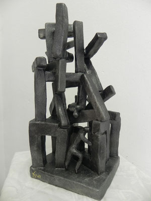 """""""Entraide""""     bronze anthracite       30cm / 16cm          280 euros"""