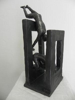 """""""Poussée en matière""""      effet  bronze anthracite    43cm / 17cm        vendu"""