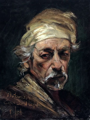 Autorretrato. Copia de David Leffel, pastel 65 x 50 cm. Eduardo Sordo (Alumno de 5º año)