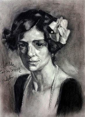 Clotilde. Copia de Sorolla, carboncillo 70 x 50 cm. Adela Carranza (Alumna de 1º Año).