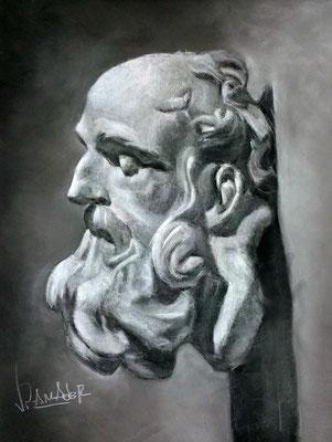 Copia del yeso. Pastel 65 x 50 cm. Juan Pedro Amador (Alumno 5º año)