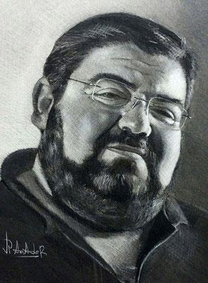 Retrato, carboncillo y lápiz blanco 65 x 50 cm. Juan Pedro Amador