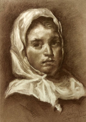 Mujer joven. Copia de Velázquez, sepia 65 x 50 cm. Pepa López (Alumna de 1º año).