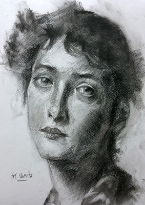 Sketch. Copia de William Merritt, carboncillo 40 x 30 cm. María Cuesta (Alumna de 3º año)