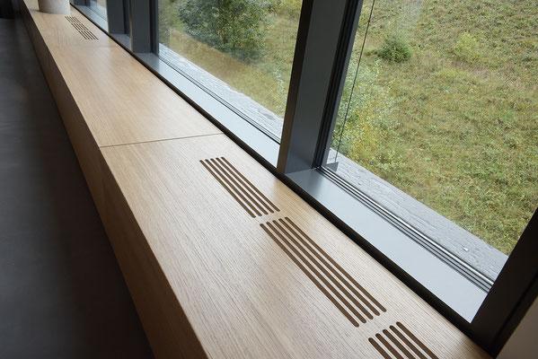 Wienss Innenausbau GmbH - Carl Zeiss AG - Innenausbau Büro in Oberkochen - www.wienss-innenausbau.de - Bibliothek & Schränke - Ansicht Heizungsblenden aus Eiche Multiplex und Fenster