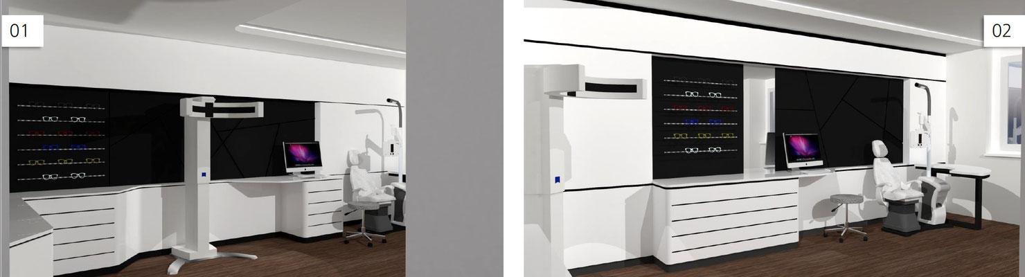 Wienss Innenausbau GmbH - Carl Zeiss AG - Innenausbau, Objektbau, Cafeteria - Illustration Refractionsraum