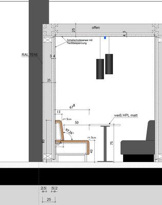 Wienss Innenausbau GmbH - Carl Zeiss AG - Innenausbau, Objektbau, Cafeteria - Plan Schnitt Polstermöbel