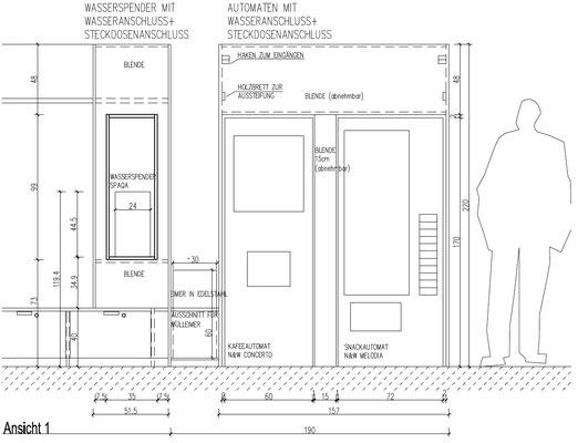 Wienss Innenausbau GmbH - Forscherfabrik Schorndorf - Innenausbau, Objektbau, Museumsbau Schnitt Automaten