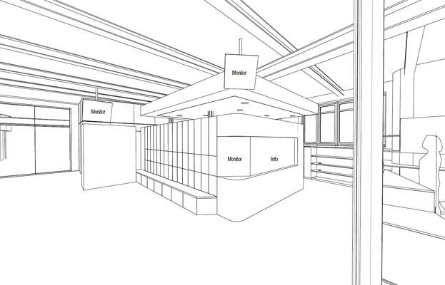 Wienss Innenausbau GmbH - Forscherfabrik Schorndorf - Innenausbau, Objektbau, Museumsbau Kasse im Foyer
